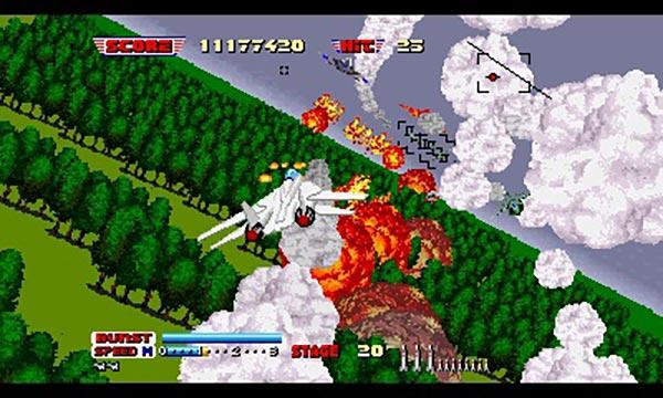 戦闘機をカッ飛ばして敵の攻撃をかいくぐる、『アフターバーナーII』のプレイ画面。画像はニンテンドー3DS向けに発売された『セガ3D復刻アーカイブス3 FINAL STAGE』(セガゲームス)に収録の同ゲーム