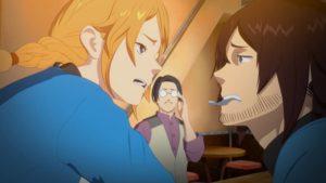 クィン・ザザ号クルーの主要人物、龍捕りのエース・ミカ(右)と新米クルーのタキタ(左)。アニメ『空挺ドラゴンズ』第3話より