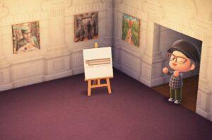 諸橋近代美術館所蔵所蔵の絵画と、ベレー帽にまる眼鏡のプレイヤー(C)2020 Nintendo(画像:諸橋近代美術館)