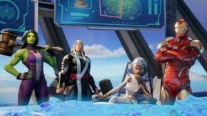 『フォートナイト』コラボで登場する、シー・ハルク、ソー、ストーム、アイアンマン(左から)(C) 2020, Epic Games, Inc.