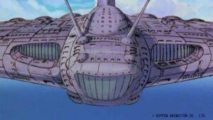 『未来少年コナン』に登場する空中要塞ギガント(画像:日本アニメーション)