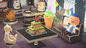 島を再現した「1stアニバーサリーケーキ」 (C)2020 Nintendo
