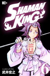 葉と阿弥陀丸の名シーンが描かれている『SHAMAN KING』KC完結版6巻(講談社)